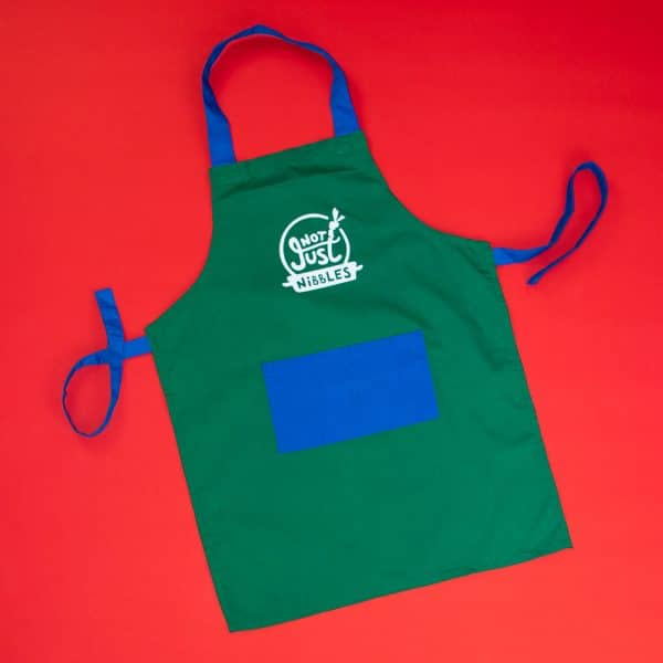 Green with blue pocket Not Just Nibbles apron